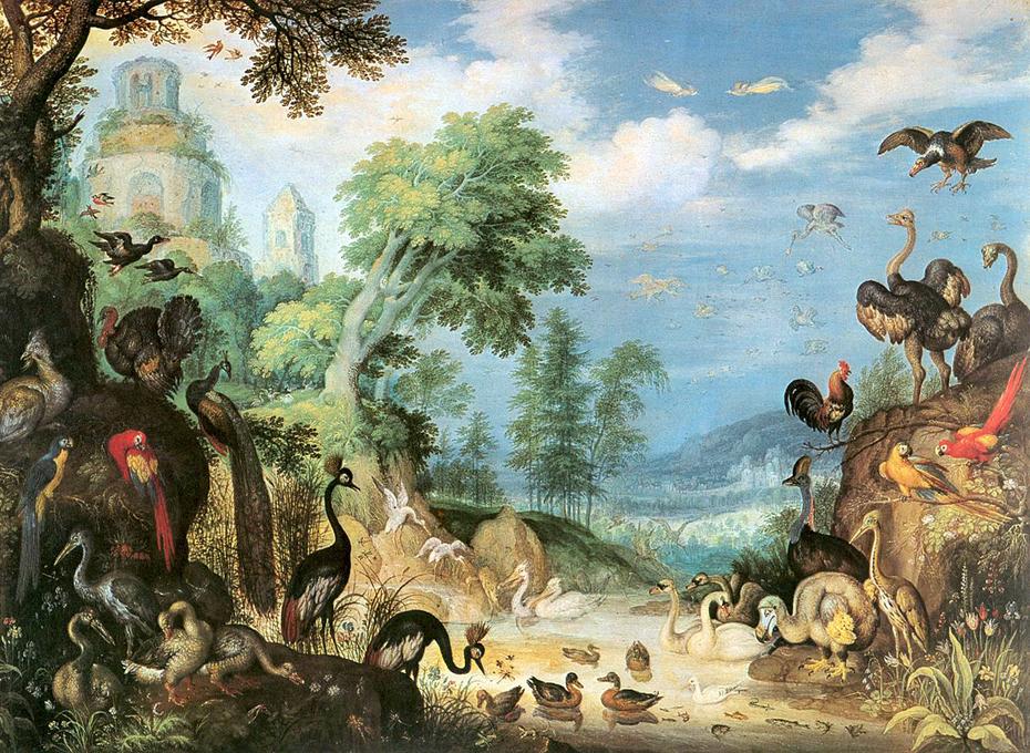 Landschaft mit Vögeln
