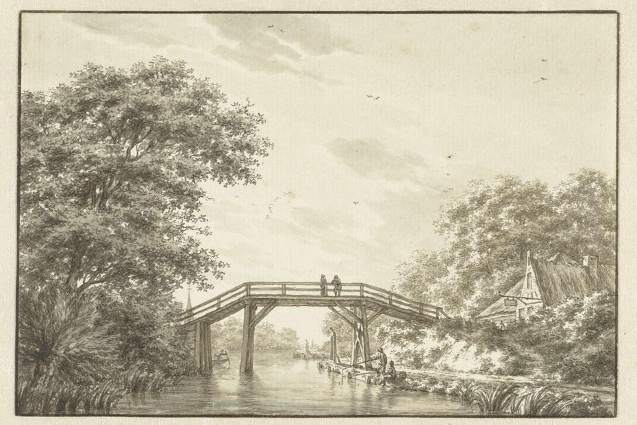 Landschap met hoge brug