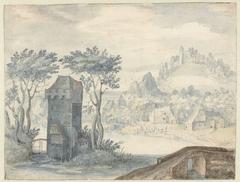 Landschap met toren tussen bomen