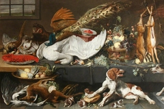 Larder with Dead Game, Swan and Lobster, Fruit, Vegetables and a Pointer Bitch defending her Puppies