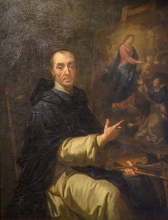 Le frère André peignant Notre-Dame du Rosaire