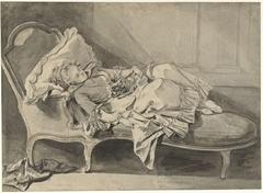 Madame Greuze op een chaise-longue met haar hondje