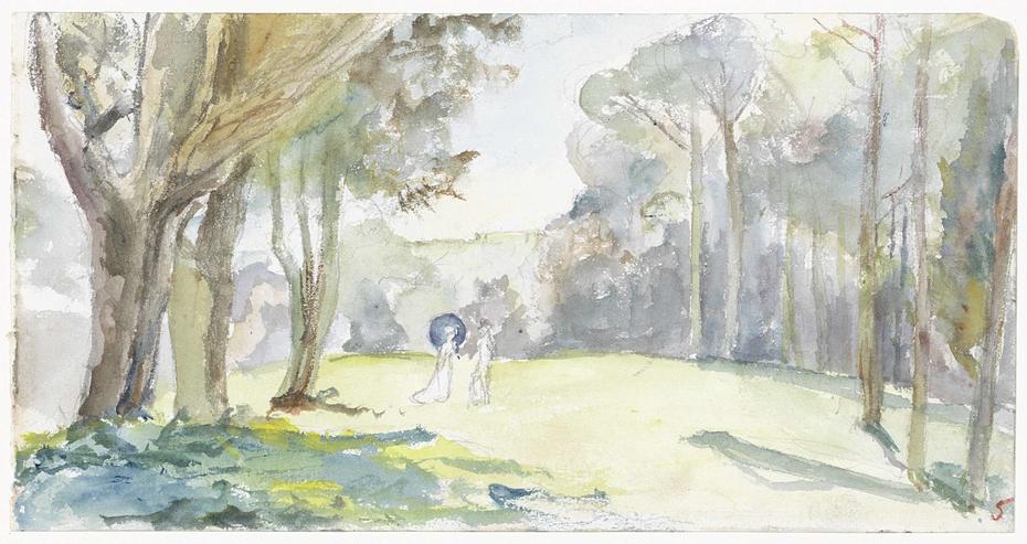 Man en vrouw op open plek tussen bomen