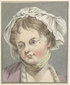 Meisjeskopje met hoofddoek, naar links ziende