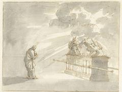Mozes staande bij de Ark des Verbonds