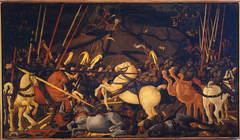Niccolò Mauruzi da Tolentino unseats Bernardino della Ciarda at the Battle of San Romano