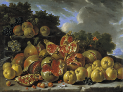 Pomegranates, apples, haws and grapes in a landscape
