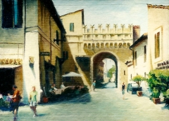 """Porta Settimiana"" by Lydia Martin© oil on  gessoed handmade 100% rag paper (9""x12"")"