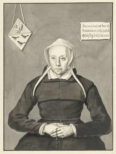 Portret van een vrouw met rozenkrans en een familiewapen