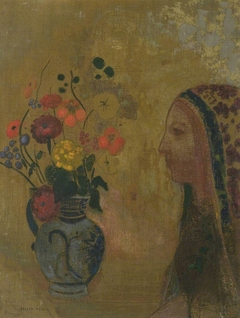 Profile of a Woman with a Vase of Flowers