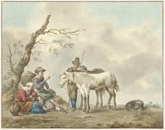 Rustende reizigers met twee paarden