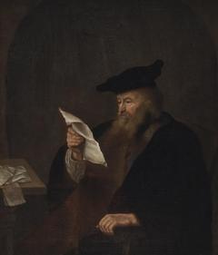 Scholar reading in study