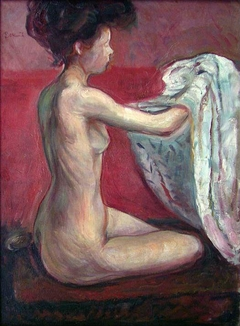 Seated Nude against a Red Background