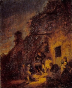 Slaughtering a Pig by Torchlight