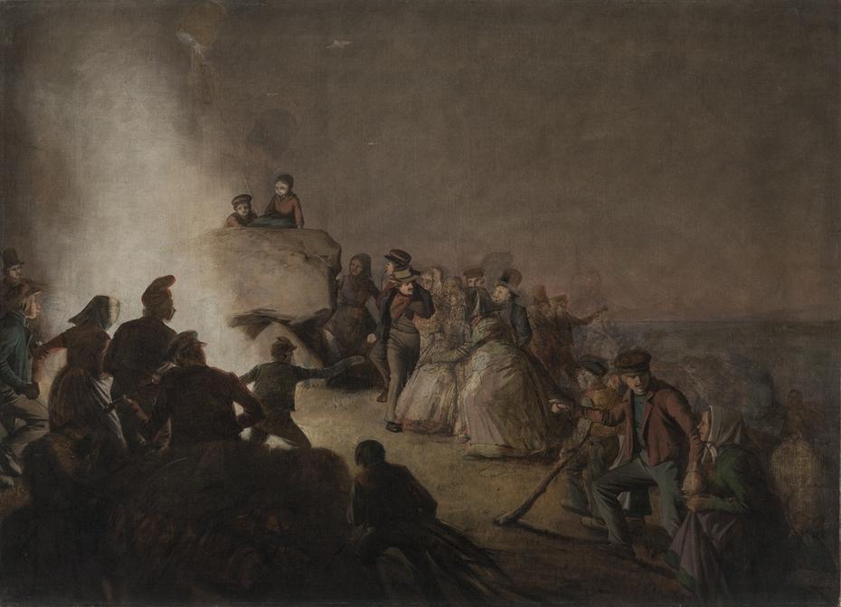 St. Hansaften. Bønder, som har tændt blus på en kæmpehøj, danser omkring ilden