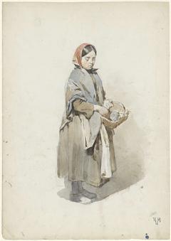Staande vrouw met hoofddoek en mand