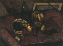 Still life with a melon and a knife