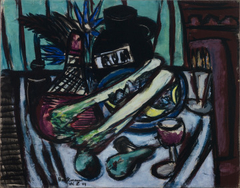 Still Life with Chianti Bottle and Celery