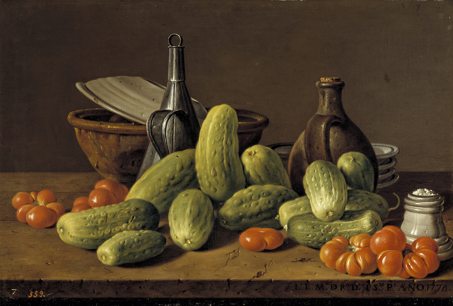 Still Life with Cucumbers Tomatoes and Vessels