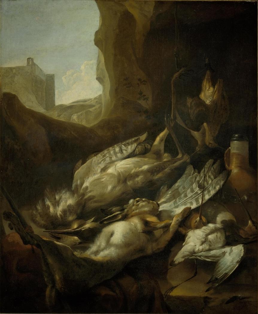 Stilleven met dood wild en gevogelte
