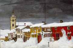 Street in Røros in Winter