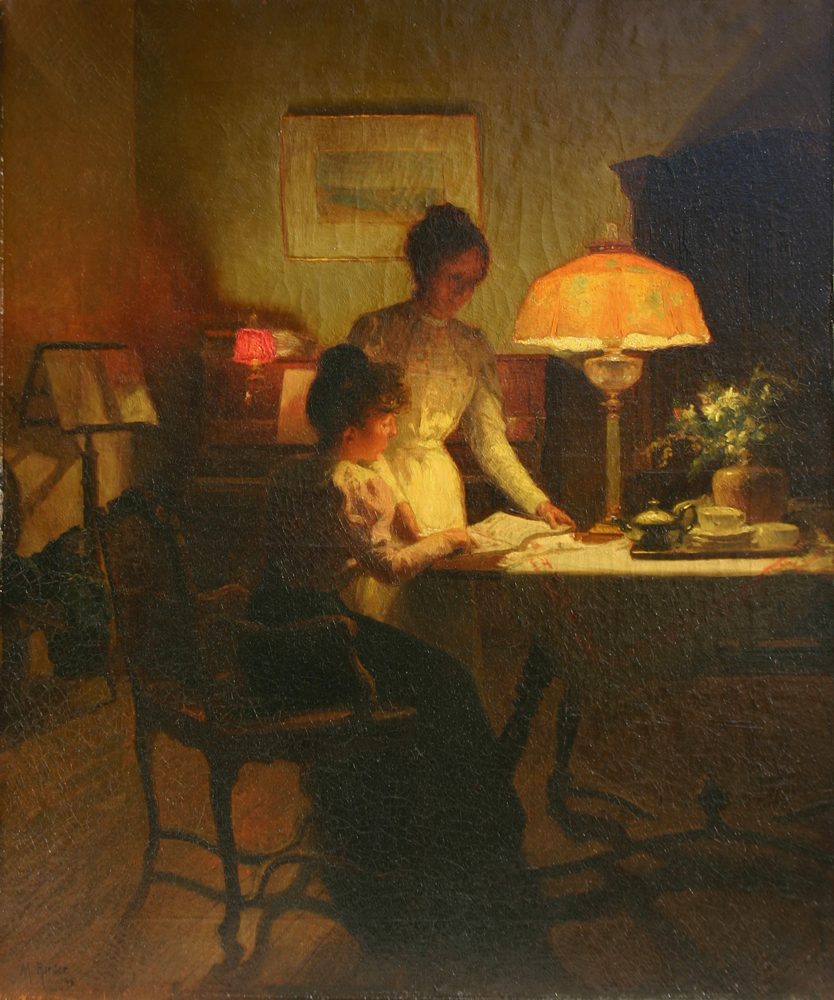 Study of Piano Score between Two Young Woman in the Glow of an Oil Lamp