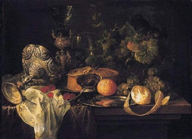 Sumptuous Still Life with Fruits, Pie and Goblets, 1651