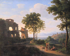 Sunlit ruin landscape with a family on a way and shepherd with sheeps