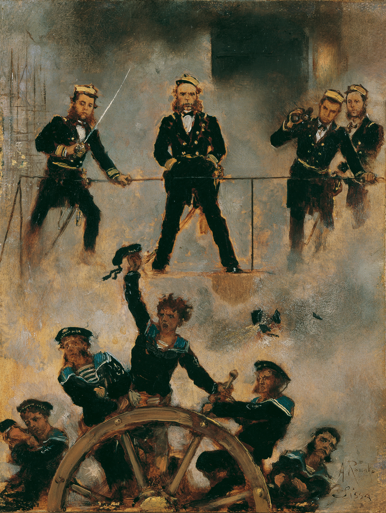 Tegetthoff in der Seeschlacht bei Lissa II