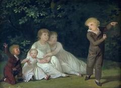 The Artist's Five Children in a garden. Study