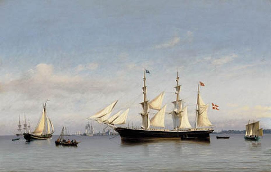 "The bark ""Ludvig Holm"" anchored at the roads of Copenhagen."