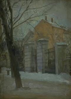 The Gate of Assistens Cemetry in Copenhagen. Winter