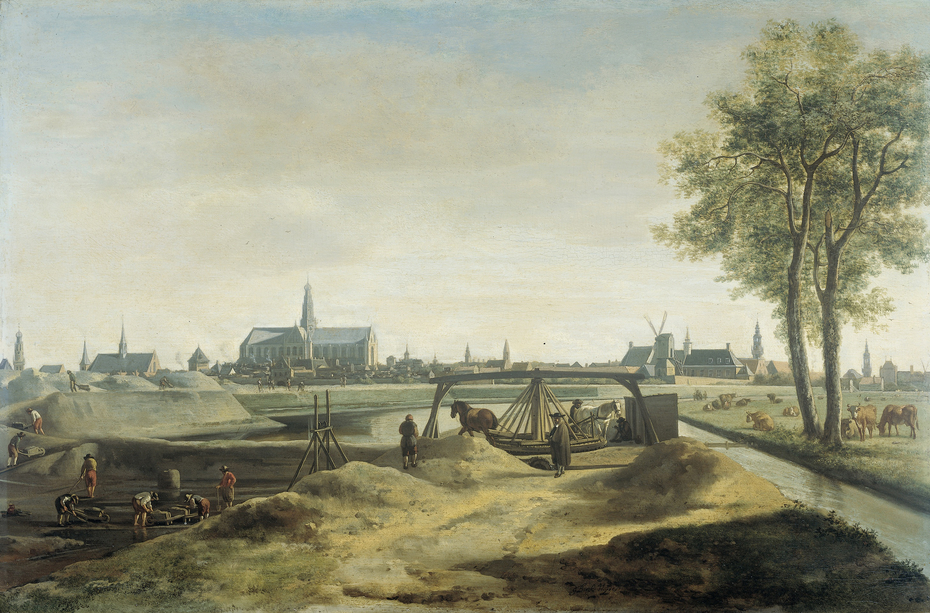 The Nieuwe Gracht at Haarlem, being built with New City Wall