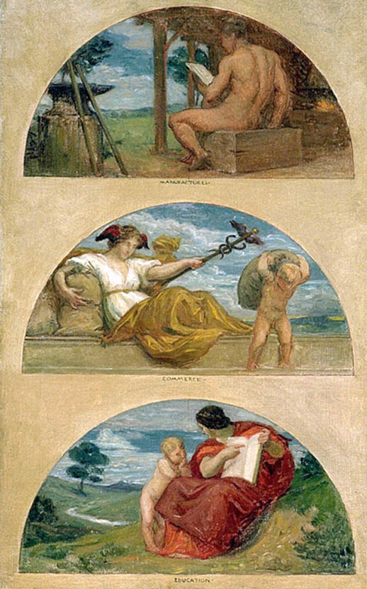 The Progress of Civilization: The Forge, Commerce, and Education (mural study, State Capitol, Des Moines, Iowa)