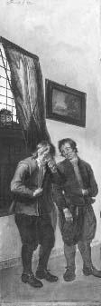 """Triptiek voorstellende de boerenrechtbank uit het blijspel """"Beslikte Swaantje"""" (linkerdeel van drieluik)"""