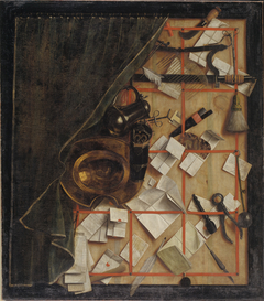 Trompe l'oeil. Letter Rack with a Barber-Surgeon's Instruments