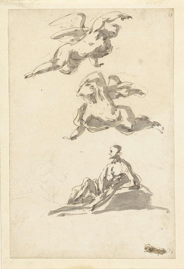 Twee zwevende engelen en een rustende man