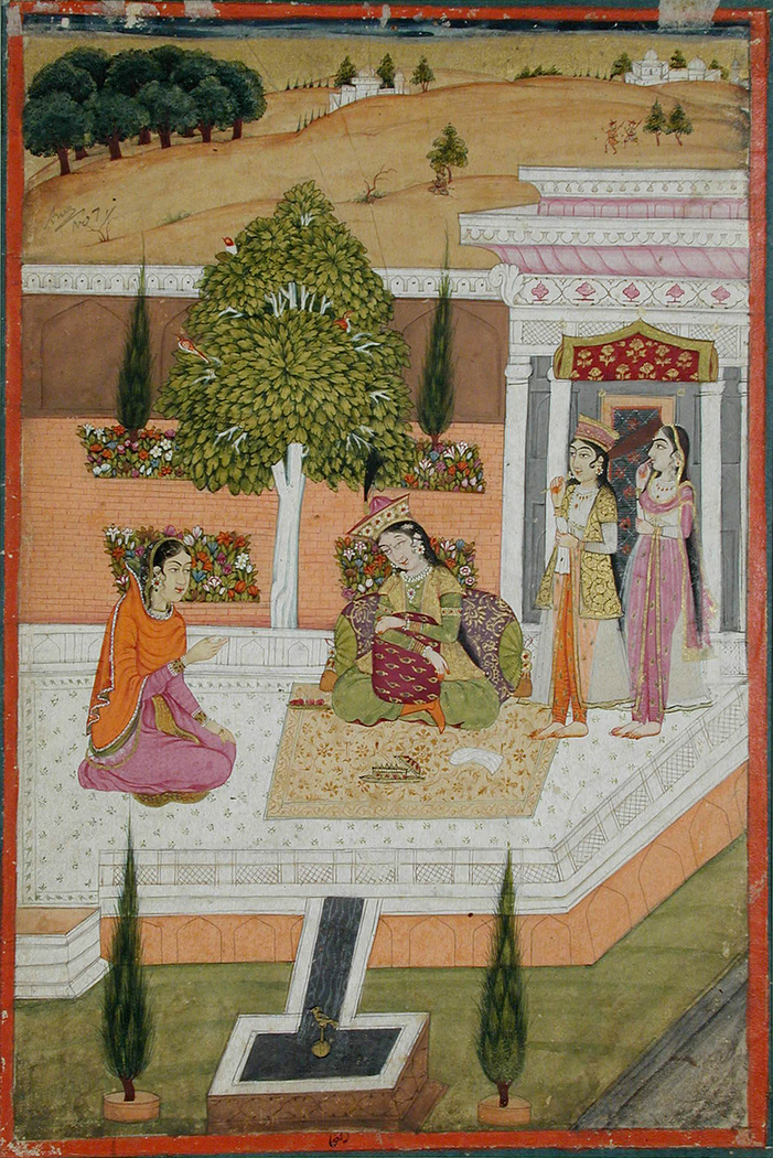 Two women seated on a terrace attended by two maids
