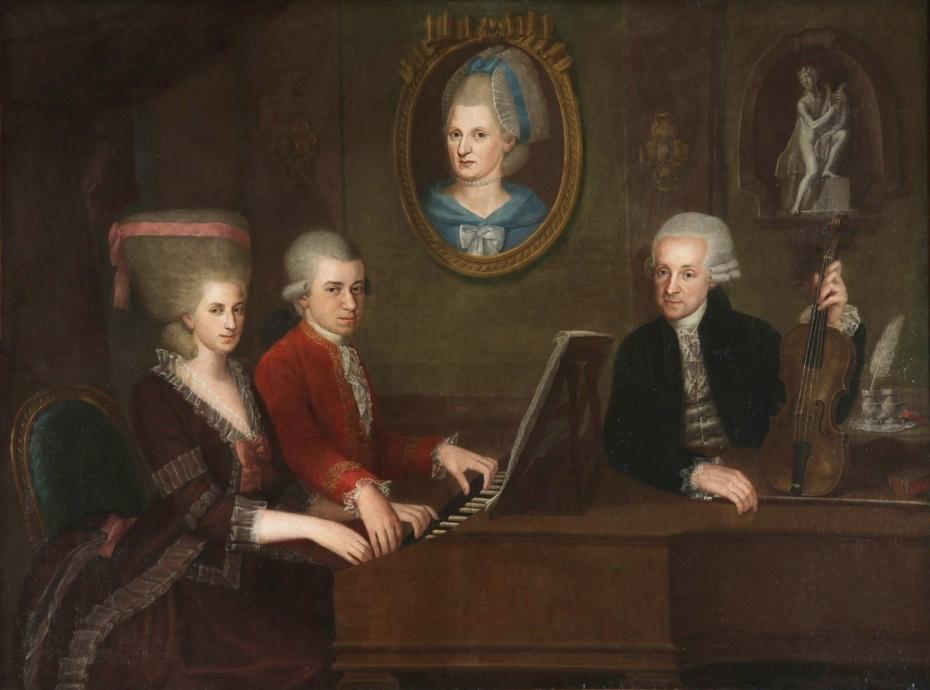 Family portrait: Maria Anna, Wolfgang, Anna Maria (medallion) and Leopold Mozart