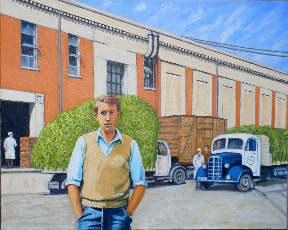 'Vacation work 1950s, Birdseye Pea factory', (2012), oil on linen, 80 x 100 cm