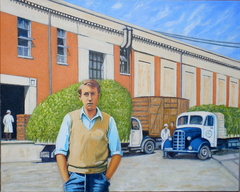 'Vacation work 1950s, Birdseye Pea factory', (2012), oil on linen, 80 x 100 cm