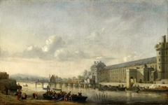 View of the Seine with the southern facade of the Grande Galerie of the Louvre