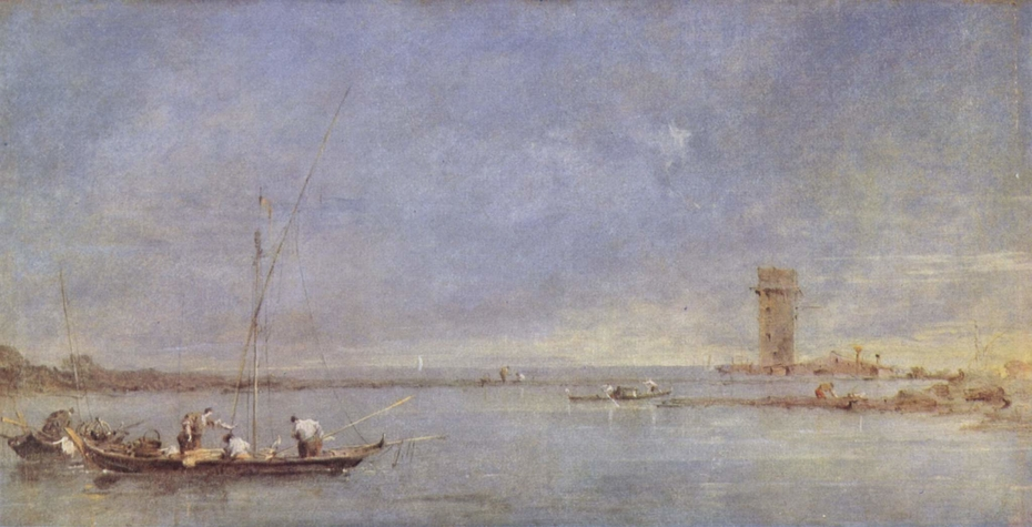 View of the Venetian Lagoon with the Tower of Malghera