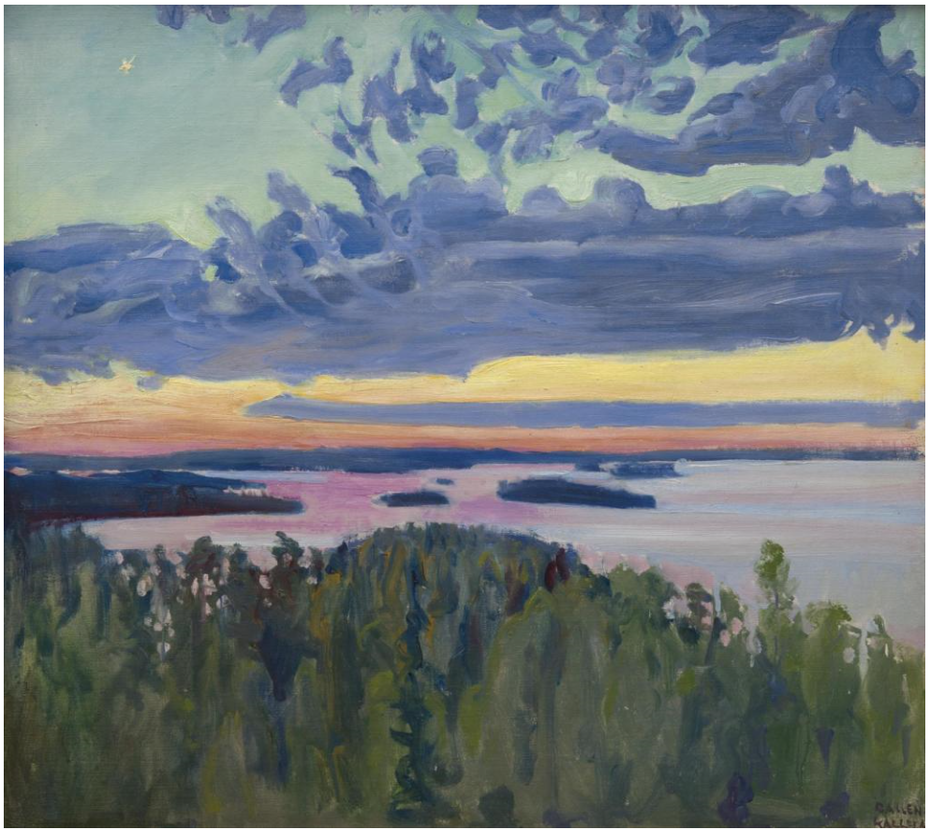 View Over a Lake at Sunset
