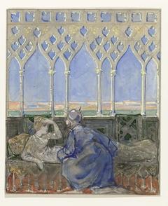 Vrouw op rustbed en man knielend naast haar