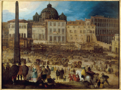 Vue de la place Saint-Pierre à Rome lors de l'élection du Pape Clément VIII en 1592