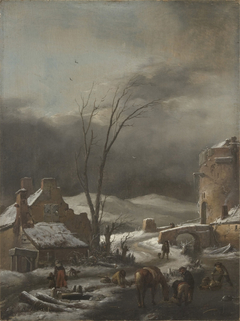Winter Landscape with a Stone Bridge