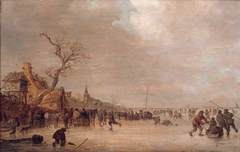 Winter landscape with skaters near an inn