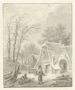 Winterlandschap met houtsprokkelaars voor boerderij