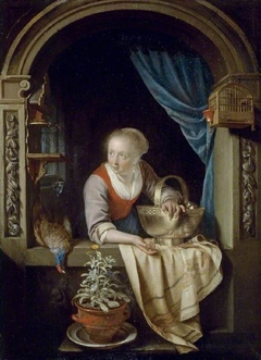 Woman at a Window with a Copper Bowl of Apples and a Cock Pheasant